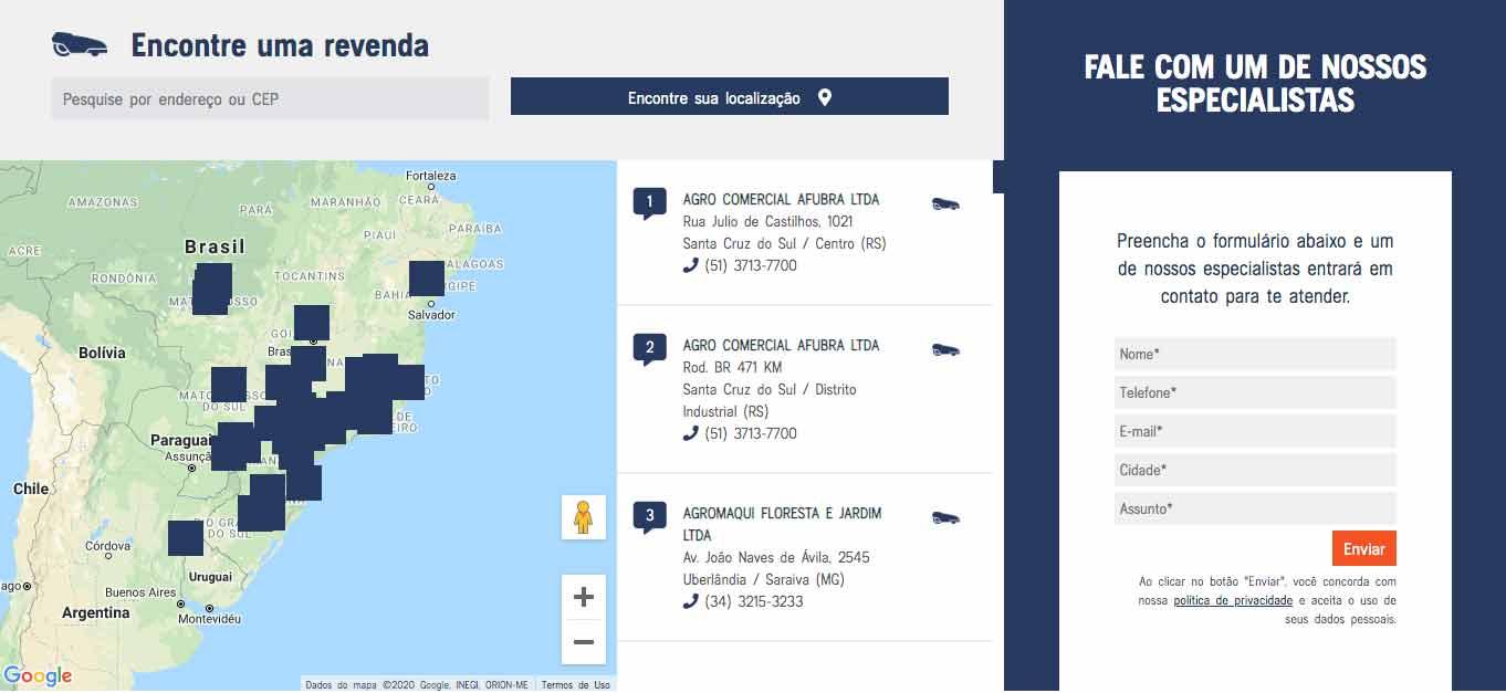 Mapa de localização de revendas